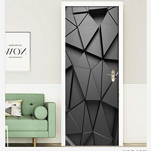 Carta da parati adesiva porta 3D Quadrato geometrico nero Fotomurali Rimovibile Vinile autoadesivo per camera da letto Salotto Ufficio Decorazione di arte della parete 95 X 215 CM