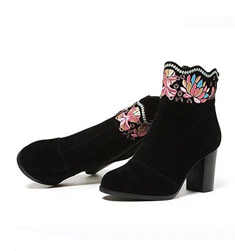 KPHY-Im Frühjahr Und Herbst Zeit Alte Peking Stickereien Schuhe Stiefel Einzigen Kurzen Schlauch Stiefel Grob Stickereien High Heels Retro Folk - Stil Kurze Stiefel 35 Schwarz (Kopf Schlauch Einzigen)