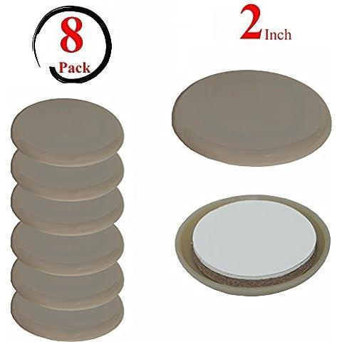 Elbee - Gommini autoadesivi per mobili, di forma rotonda, per una protezione impareggiabile delle superfici, facilmente adattabili, privi di residui, sorprendentemente silenziosi e resistenti, confezione da 8 pezzi, diametro 5 cm, colore: beige