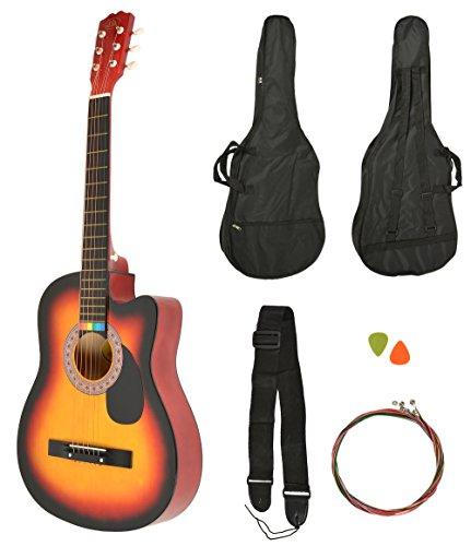 Akustik Western Gitarre Sunburst + Gitarrentasche + Gurt + Saiten