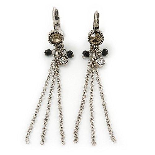 Con perline, stile Vintage, con catena, lunghezza orecchini pendenti con chiusura a monachella, stile antico, In argento, lunghezza: 60 mm