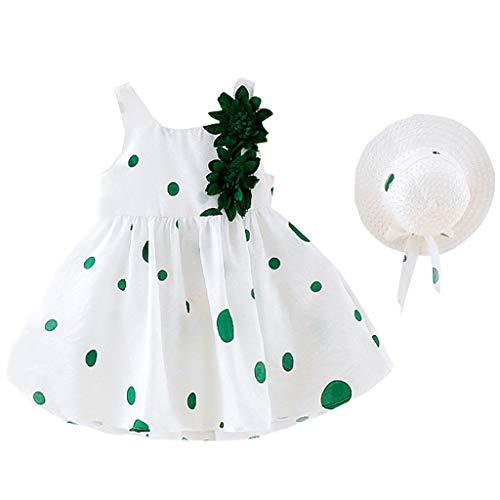 wuayi  Baby Mädchen Kleider, Mädchen Floral Dot Print ärmelloses Kleid + Hut Hat Outfits Kleidung Kleidung 6 Monate - 3 Jahre