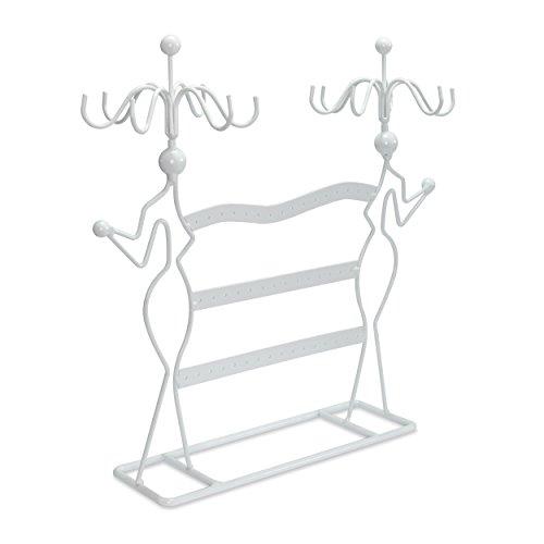 """Schmuckständer """"Damen Silhouette"""" - Weiß ca. 35 x 34 x 8 cm - Schmuckhalter Aufbewahrung & Präsentation - Grinscard"""
