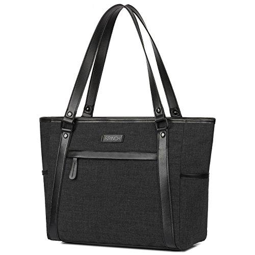Damen Umhängetasche Aktentasche Schultertasche Reisetasche Handtasche stilvoll Shopper Frauen Taschen Messenger Bag Tote Bag / 15,6 Zoll Business Arbeitstasche Laptoptasche für Notebook,Schwarz -