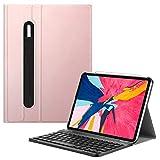 Fintie Bluetooth Tastatur Hülle für iPad Pro 11 2018 (Lademodus des Apple Pencils 2nd Gen Wird unterstützt) - Ultradünn leicht Keyboard Case mit magnetisch Abnehmbarer drahtloser Tastatur, Roségold