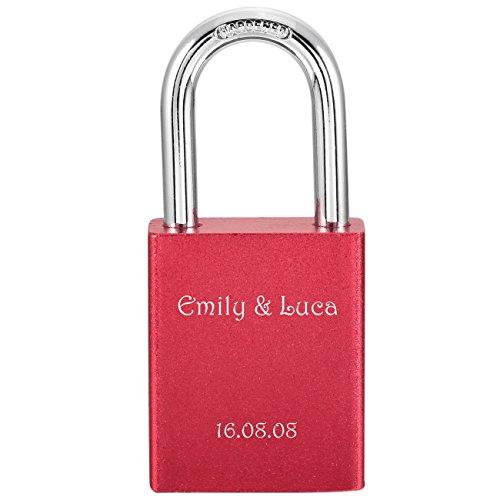 *MeMeDIY Rot Aluminium Vorhängeschloss Sperren Schluss Schlüssel Lieben – Kundenspezifische Gravur*