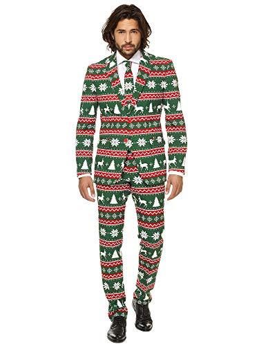 Mann Kostüm Green -  OppoSuits Weihnachtsanzüge für Herren - besteht aus Sakko, Hose und Krawatte,grün(Festive Green), EU-50