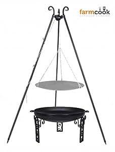 Dreibein Grill VIKING Höhe 180cm + Lagerfeuerpfanne aus Stahl Durchmesser 33cm + Feuerschale Pan40 Durchmesser 60cm