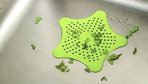 Pindia Green Color Starfish Shape Kitchen Filtration Net Sink Filter Bathroom Strainer
