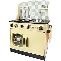 Vintage Retro Cocina Madera Infantil Cocina De Juguete Accesorios Para Niñas Classic Juego de Imitación Cubiertos de Madera Oro y Plata