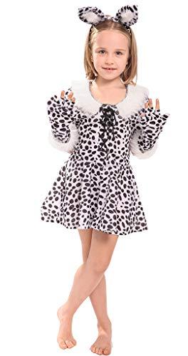 MOMBEBE COSLAND Mädchen Schneeleopard Kostüm Cosplay (Weiß, M)