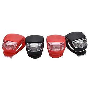 41KEhvQL1fL. SS300 Yizhet 4 Pezzi Luci LED Bici Luce Bicicletta Impermeabile Silicone Luce Set Illuminazione Passeggini Scooter Luci…