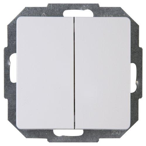 Kopp Paris Serien-Schalter für den Haushalt, 250V (10A), IP20, Unterputz, Lichtschalter für 2 Leuchtmittel, einfache Wandmontage, arktis-weiß, 650502062 -
