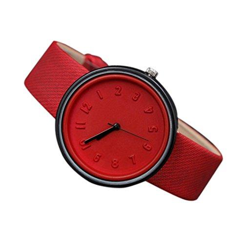 EARS Frau Uhren Unisex Simple Fashion Nummer Uhren Quarz Armbanduhr Gürtel Armbanduhr Casual Armbanduhr Uhrenarmband Mädchen Uhren lattiert Classic Round Damen Frauen Kristalle Uhre (Rot)