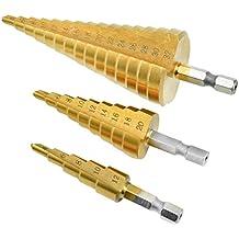 3 PCS Broca Escalonada 4-12 / 20 / 32mm HSS para Metal - Taladros Titanio Acero de Alta Velocidad