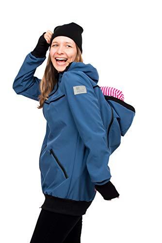 (Viva la Mama - Babytrage Jacke Rücken und Bauch, Umstandsjacke mit Babyeinsatz Umstandsmode Damen AVENTURIS azurblau - XL)