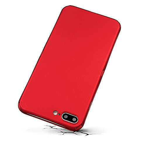 """xhorizon MLK Protection de 360 degrés 2 en 1 Couvercle mince avec Protecteur d'écran en verre trempé pour Apple iPhone 7 Plus [5.5""""] (rouge) rouge"""