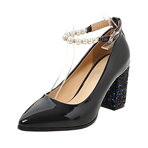 UH Femmes Sandales Bride Cheville de Perle Bout Pointu à Talons Moyen Bloc Vernis Brillant Elegantes Noir