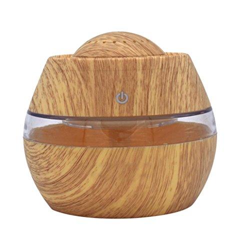 ASHOP Aroma Diffuser 300ml Luftbefeuchter Öl Ultraschall Düfte Humidifier Holzmaserung LED mit 7 Farben für frische Luft, Heim Dekoration, trockene Haut, Insomnie (Gelb) -