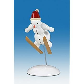 Holzfigur Weihnachtsfigur Schneemann Skifahrer Höhe ca 6,5 cm NEU Erzgebirge
