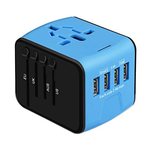 Bescita6 Konvertierung Stecker, 4 USB-Multifunktionsumwandlungsstecker, Reiseadapter Universal International Power Steckdose EU nach USA (Blau)