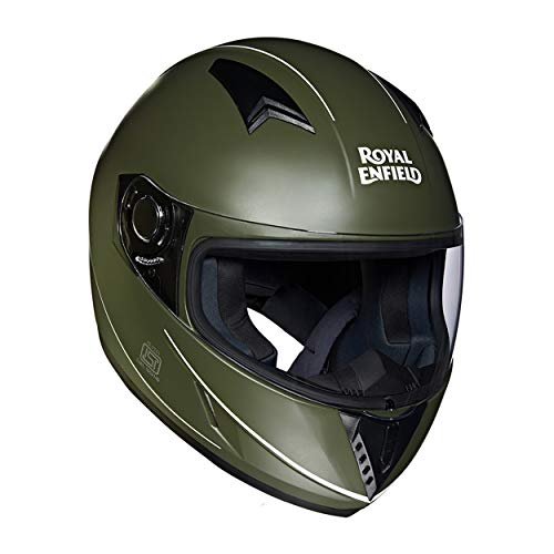 Royal Enfield RRGHEI000045 Street Mono Stripe Helmet (Battle Green, L)