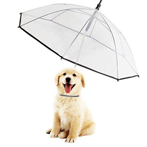 Morjava W555, paraguas con correa para mascota, perro, transparente y resistente al agua para pasear al perro blanco W555-DU
