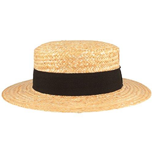 Kreissäge Strohhut | Sommerhut | Sonnenhut -aus 100% Stroh mit schwarzem Ripsband- Gondoliere-Hut MADE IN ITALY - 6 cm breite Krempe - Beige, Beige, XL (61) (Stroh Boater Hut Kostüm)