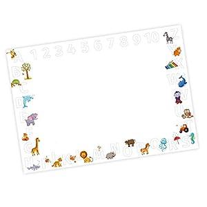 Kinder Schreibtischunterlage Alphabet + Zahlen zum ausmalen – 25 Blatt Papier zum abreißen, A2 Malunterlage – Geschenk zum Schuleintritt Schulanfang Einschulung