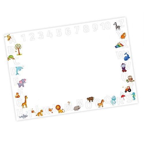 Kinder Schreibtischunterlage Alphabet + Zahlen - 25 Blatt Papier zum abreißen, A2 Malunterlage - Geschenk zum Schuleintritt Schulanfang Einschulung