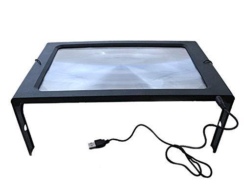 3X Leselupe Mit 12 LED-Leuchten, Handheld Oder Hands Free Lupe Mit Standfuß - GroßEs A4-Blatt Mit...