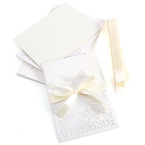 Anladia 10er Ivory Weiss Einladungskarten Elegante Schmetterling & Rose Spitze Design mit Karten, Umschläge, Schleifer, Einlegeblätter OHNE DRUCK Hochzeit Geburtstag Taufe Party Einladung #27