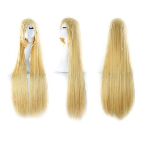 MapofBeauty 40 Zoll/100cm Lange Gerade Cosplay Kostüm Fashion Party Perücke (Blond) -