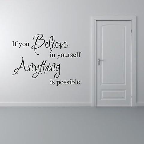 Believe In Yourself Inspirational Quote carattere Carità vinile adesivo da parete Art Decor, Vinile, marrone,