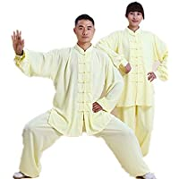 Long Sleeve Tai Chi Clothes Chinese Kung Fu Clothing Martial Arts Sets for Men Women Taichichuan Shirt and Pants (light yellow, S)