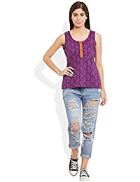 Very Me Women's Designer Purple Wine Pure Cotton Printed Short Top
