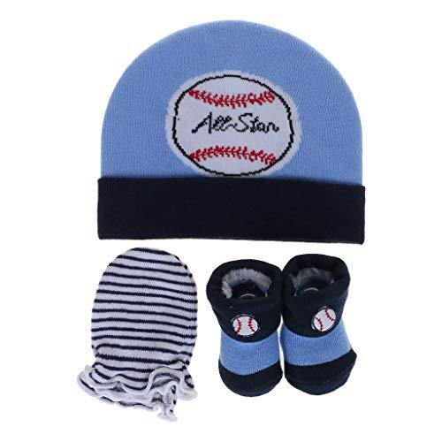 Yunso 1 Set Baby Mütze Handschuhe Socken, Weiche Cartoon Print Beanie Infant Kostüm Atmungsaktiv Für Neugeborene Jungen Mädchen (Blau) (Weiß Cartoon Handschuhe Kostüm)