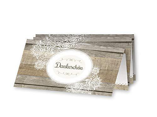 Ja, ich will! Romantische Dankeskarten zur Hochzeit – inkl. Kuverts (10er Pack)