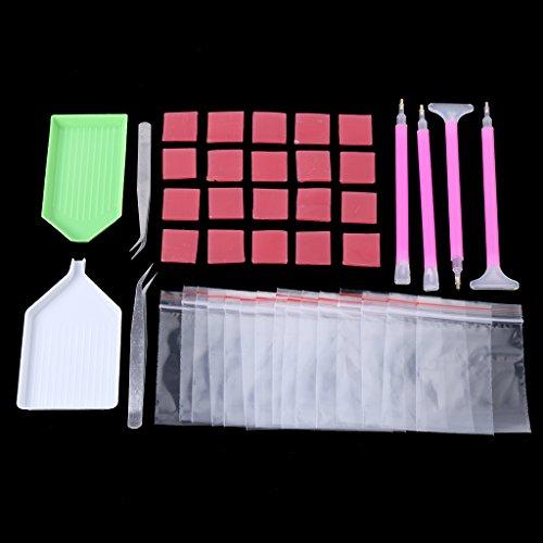 für Diamant-Malerei, Stifte, Diamantenspitzen, Pinzetten, Kleber, Platte aus Kunststoff, 5D Diamond Painting Kit DIY, 43 Teile ()