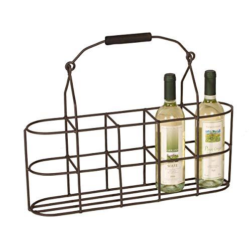 Varia Living Flaschenträger aus Metall für 5 Flaschen mit Griff | platzsparende Alternative zu gängigen Flaschenhaltern für 6 Flaschen durch schmales Design | ideal als Flaschenkorb für kleine Küchen - Glas Eisen Geschmiedet