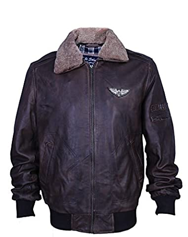 Urban Leather UR Veste de 90 Rétro Aviateur Pilote, ontorio Brown, grande : L