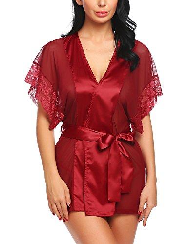 ADOME Satin Morgenmantel Damen Dessous Kimono Spitze Kleid Gown Kurz Reizwäsche mit Gürtel und G-String