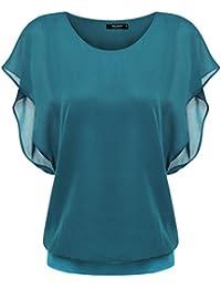 Zeagoo Damen Sommer Casual Loose Fit Kurzarm Fledermaus Batwing T-Shirt Shirt Chiffon Top Bluse