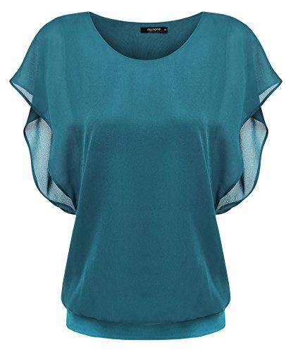 Zeagoo Damen Sommer Casual Loose Fit Kurzarm Fledermaus Batwing T-Shirt  Shirt Chiffon Top Bluse 6a62710cbf