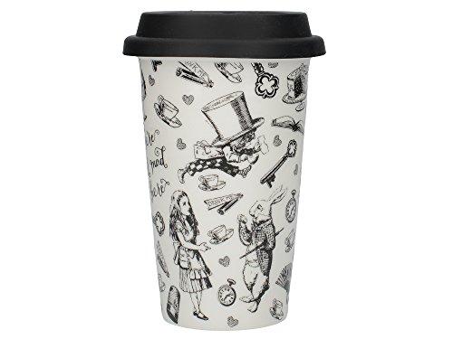 Creative Tops Victoria und Albert Alice im Wunderland Thermobecher, Keramik, Schwarz/Weiß, 19,5x 19,5x 15,5cm