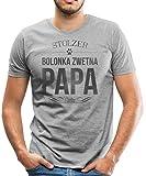 Spreadshirt Stolzer Bolonka Zwetna Papa Hund Männer Premium T-Shirt, L, Grau meliert