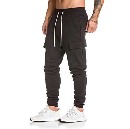Herren Hosen Kordelzug, Sunday Harem Sweatpants Slacks Freizeit Jogger Dance Sportwear Baggy 2018 Neu Sports Klettern Hose (XXL, Schwarz) (Kordelzug Star)