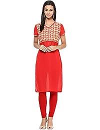 WOMEN KURTA: Embellished 100% Cotton Printed Knee Length Kurta For Women