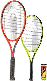 HEAD Radical 27 vuxen tennisracket x 2 + 3 tennisbollar (alla grepp (röd vuxen + extrem jnr)