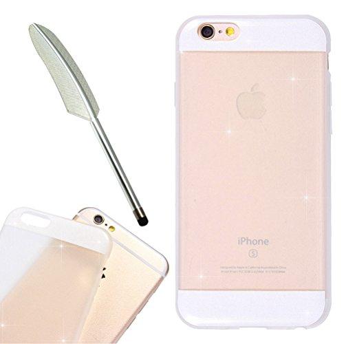 "iPhone 6 Glitzer Hülle 4.7 "", iPhone 6S Bling Bling Hülle Gold, Schick Luxus Shiny Glanz Sparkle Ultra Dünn Transparent Durchsichtig Klar Crystal Kristall Weiches Bumper Gel TPU Silikon Gummi Tasche K White"